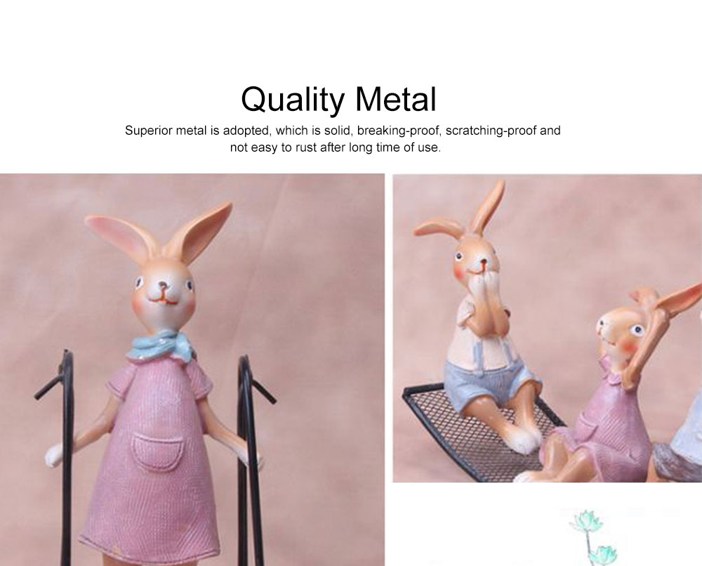 Creative Cute Delicate Rabbit Resin Metal Ornament Breaking-proof Bunny Living Room Study Table Decoration 3