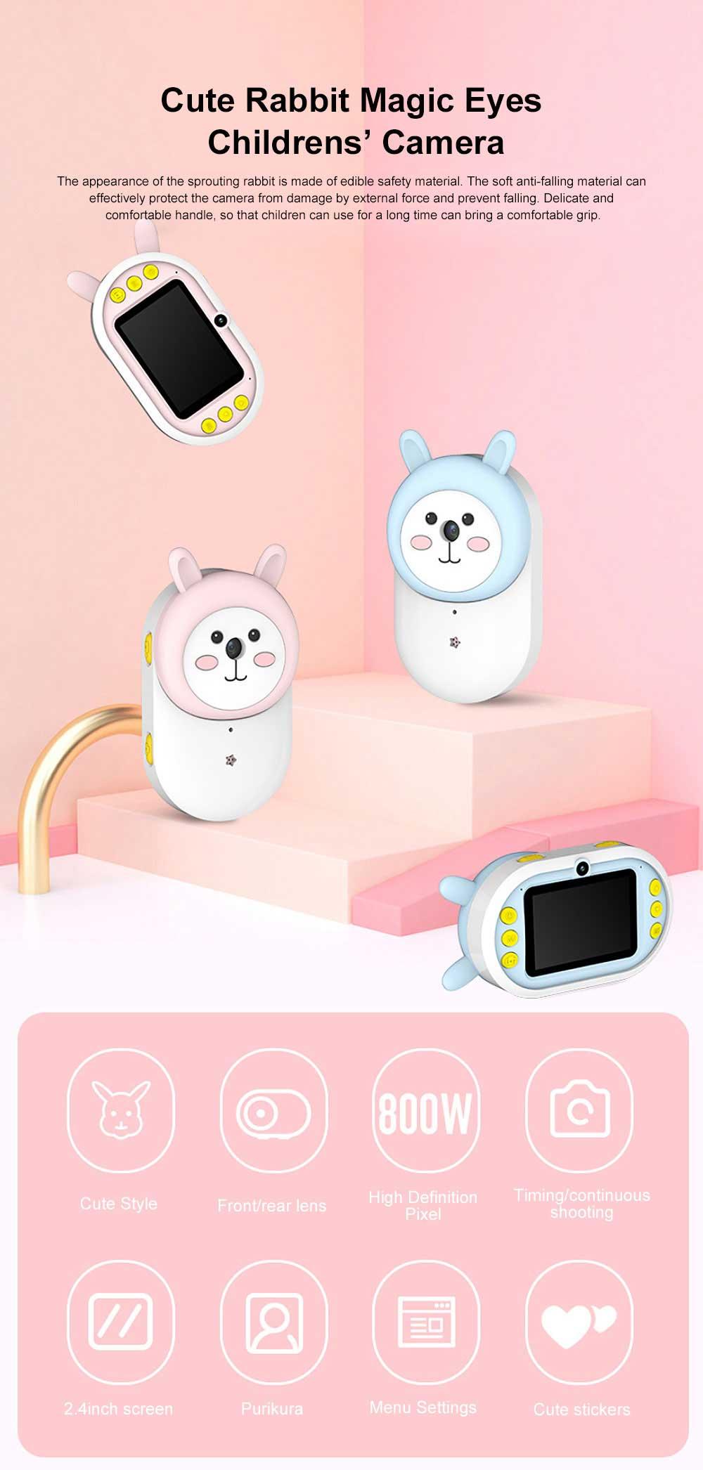 Cute Rabbit Magic Eyes Childrens' Wifi HD Camera 2.4 Inch Wifi-Connected New 2 Lens 800W HD Kids Camera 0