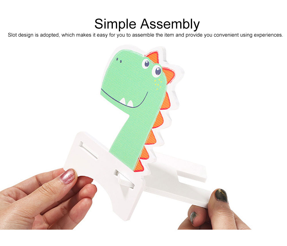 Creative Cute Cartoon Animal Model Mobile Phone Supporter, Touch Wood-Plastic Board Tablet Computer Holder 3