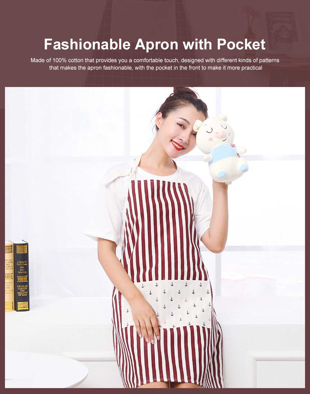 Fashionable Apron for Kitchen 100% Cooking Apron with Pocket Aprons with Strip Dot Printing Patterns Household Accessory 0