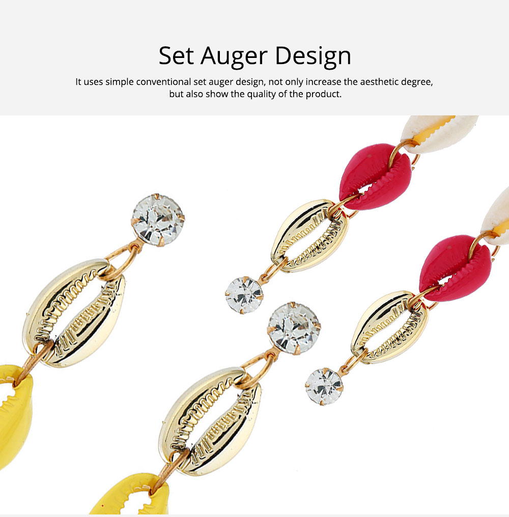Long Conch Earrings for Women Colorful Option Set Auger Design Western Style Multilayer Colored Shell Stud Earring 4