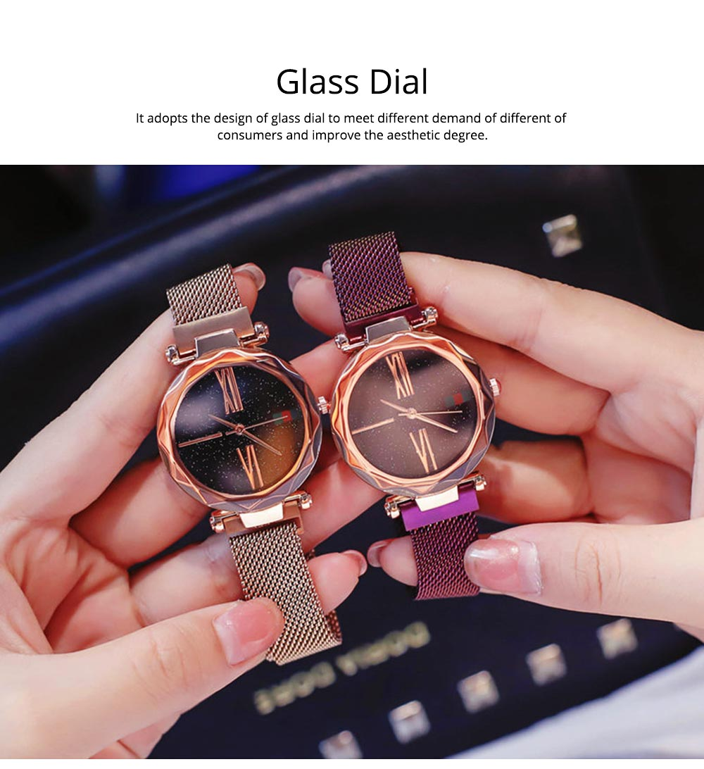 Starry Quartz Watch for Women Glass Dial Magnetic Design Quartz Movement Spiral Decoration Sturdy and Durable Watch 1