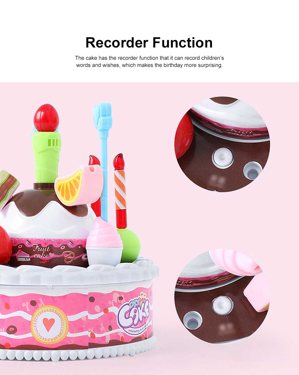 Birthday Cake Toy for Children & Kids, DIY Birthday Cake Model with Sound Recorder Function Birthday Present Gift 4
