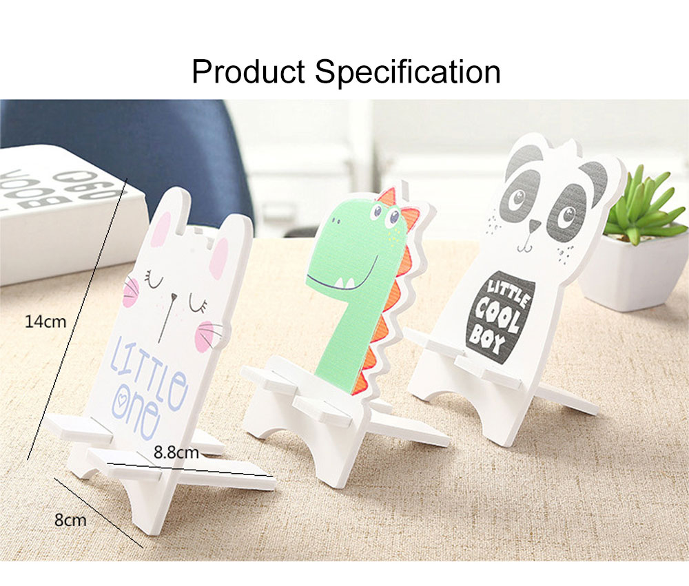 Creative Cute Cartoon Animal Model Mobile Phone Supporter, Touch Wood-Plastic Board Tablet Computer Holder 6