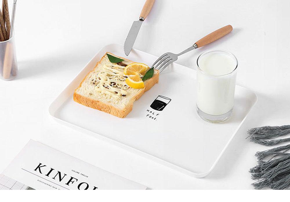 Minimalist Rectangle Household Breakfast Food Tray Breaking-proof PP Tea Bread Drink Decoration Tray 6