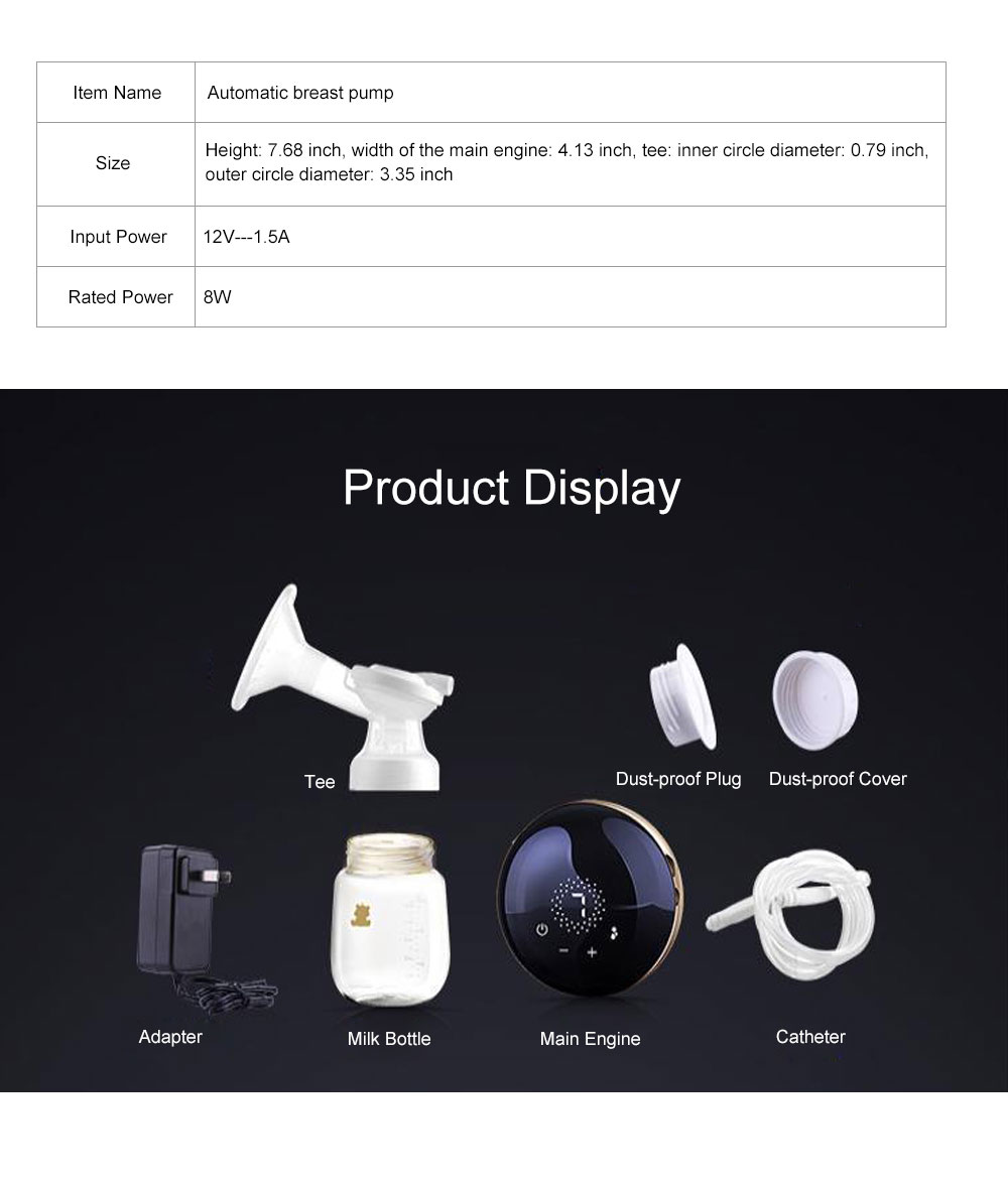 Portable Noiseless Electric Automatic Massage Breast Pump, Safety Non-toxic PP Painless Breast Reliever with LED Screen Touch 8