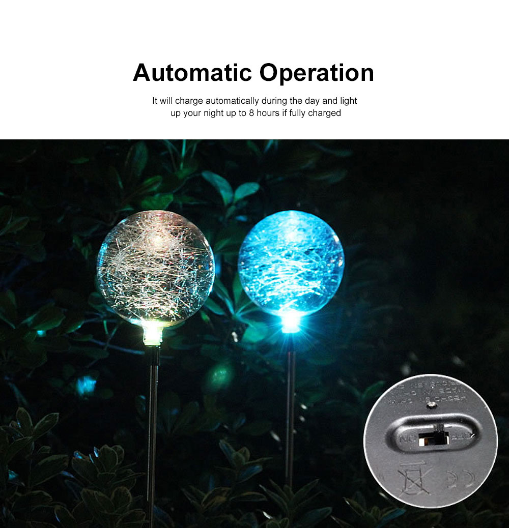 2pcs Solar-Powered Led Decorative Lights 7 Colors Cracked Glass Ball LED Garden Lights Waterproof Solar Night Patio Lights for Outdoor Use 3