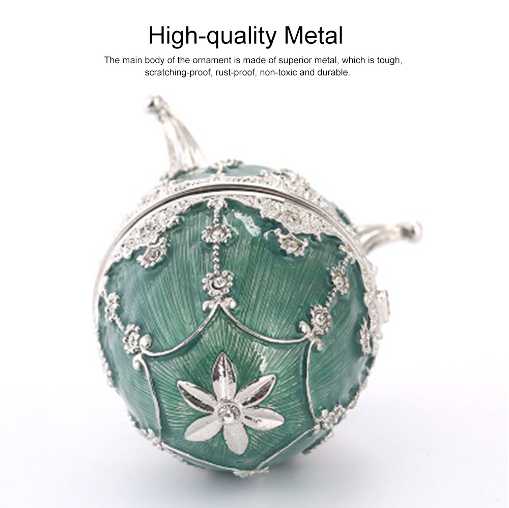 Delicate Green Blue Colored Painting Rhinestone Decorative Ornament Quality Easter Egg Decoration Model Jewelry Storing Box 1
