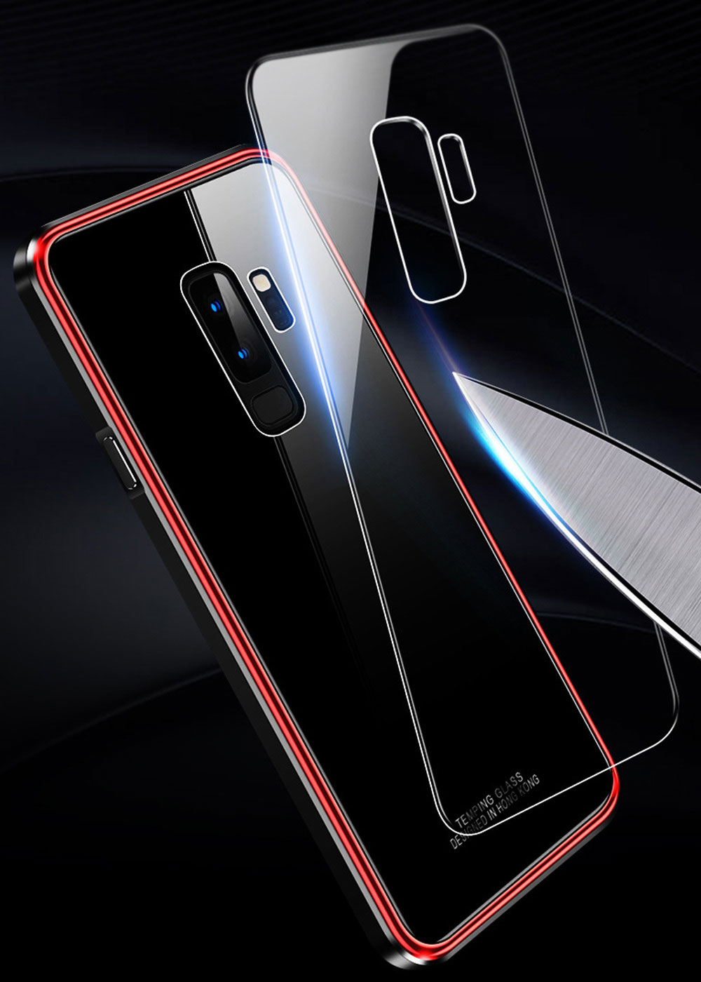 Minimalist Solid Metal Border Tempered Glass Samsung Phone Case, Breaking-proof Phone Protective Cover for Samsung Galaxy Note 9 S9 Plus 2
