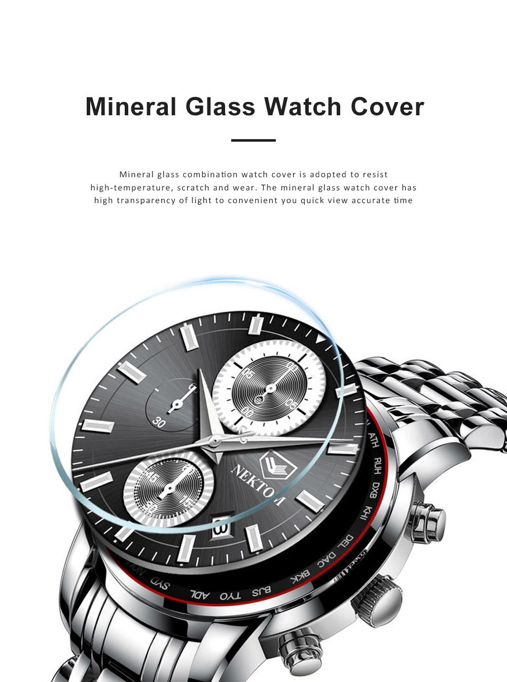 Men's Quartz Watch Multifunctional Waterproof Wrist Watch Scratch Proof Fashion Accessory Watch 3