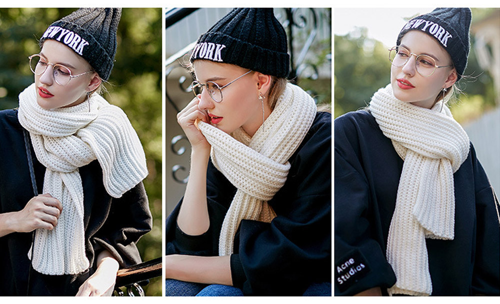 New Wool Scarf Soft Tippet Longitudinal Knitting for Women Men Keep Warm Skin-friendly Muffler Winter 2