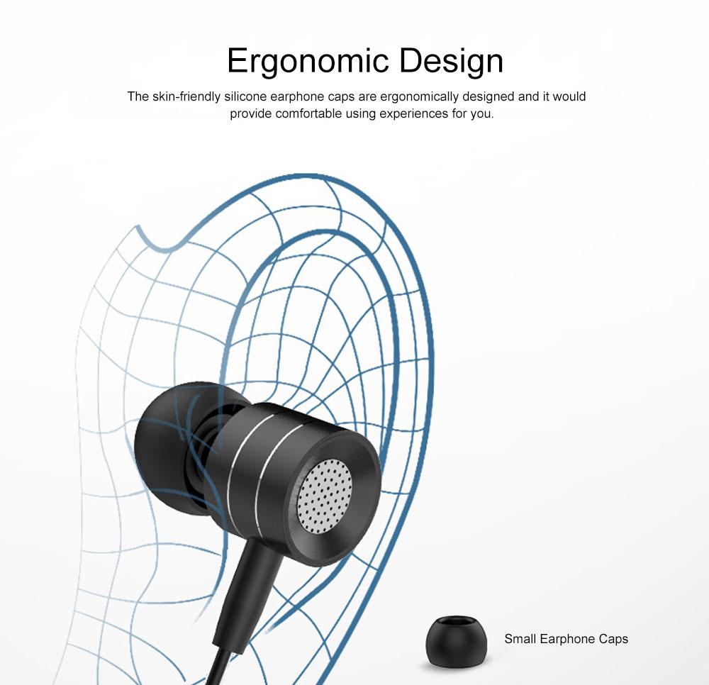 Quality Minimalist Mega Bass HIFI Music In-ear Earphone, Solid Metal Wired Earphone with Three Size Ear Caps 2