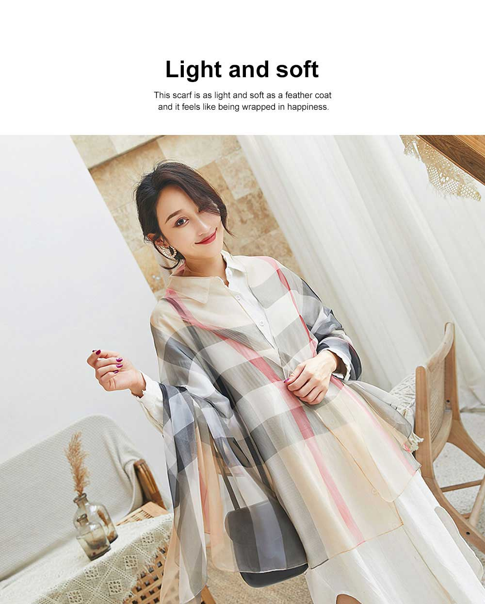 2019 Hot Gradient Grid Pants Scarf, New Sunscreen Scarf Shawl in Spring and Summer for Girl Lady 3