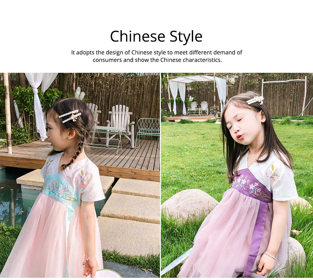 Han Chinese Clothing for Girls V Collar Flower Adornment Ribbon Chinese Characteristics Skin-friendly and Comfortable Dress 1