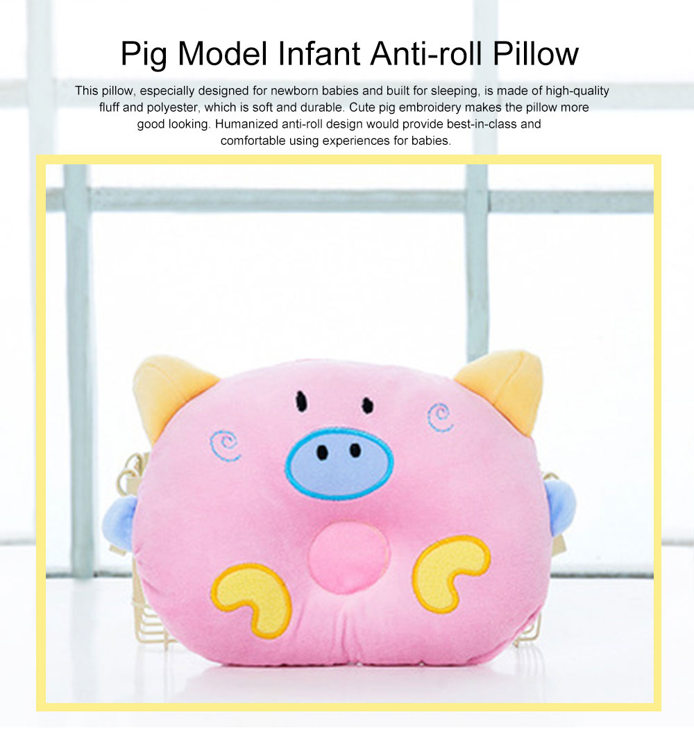 Cute Carton Pig Model Embroidery Anti-Roll Newborn Baby Pillow Soft Breathable Fluff Infant Prevent Flat Head Pillow 0