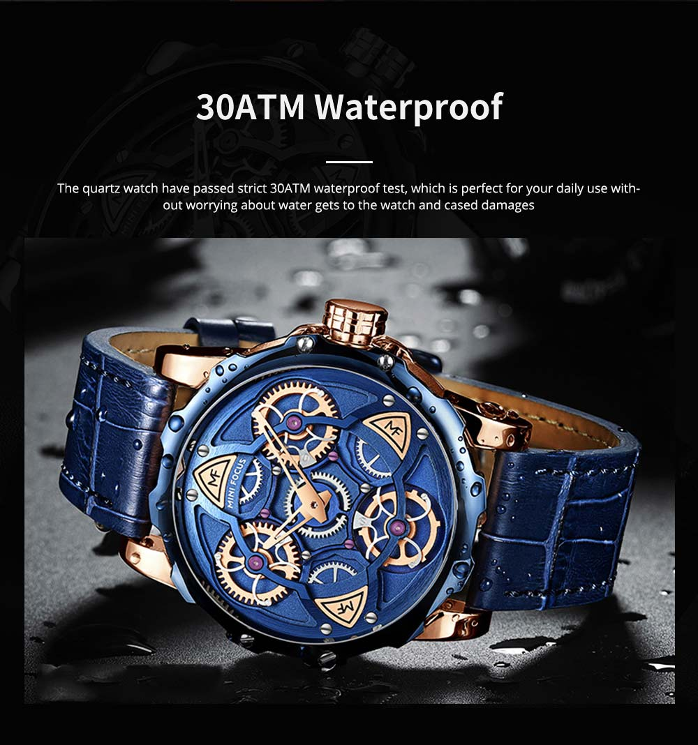 Men's Mechanical Watch Japanese Movement Business Quartz Watch with Gear Gyro Leather Watch Band 3