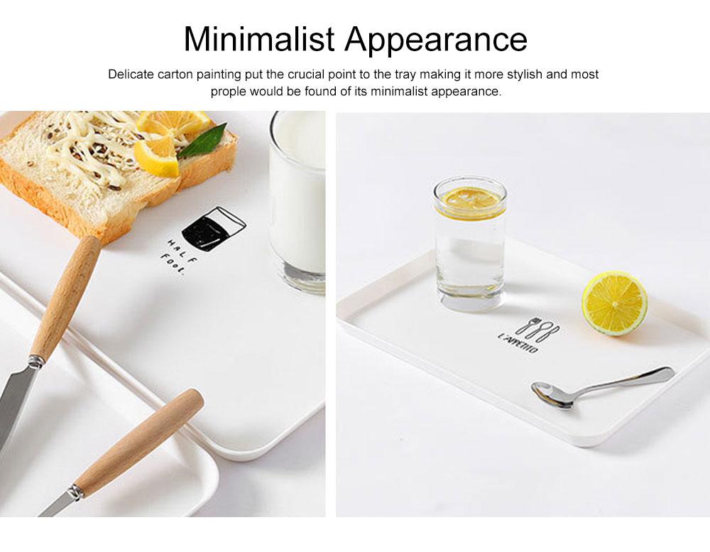 Minimalist Rectangle Household Breakfast Food Tray Breaking-proof PP Tea Bread Drink Decoration Tray 2