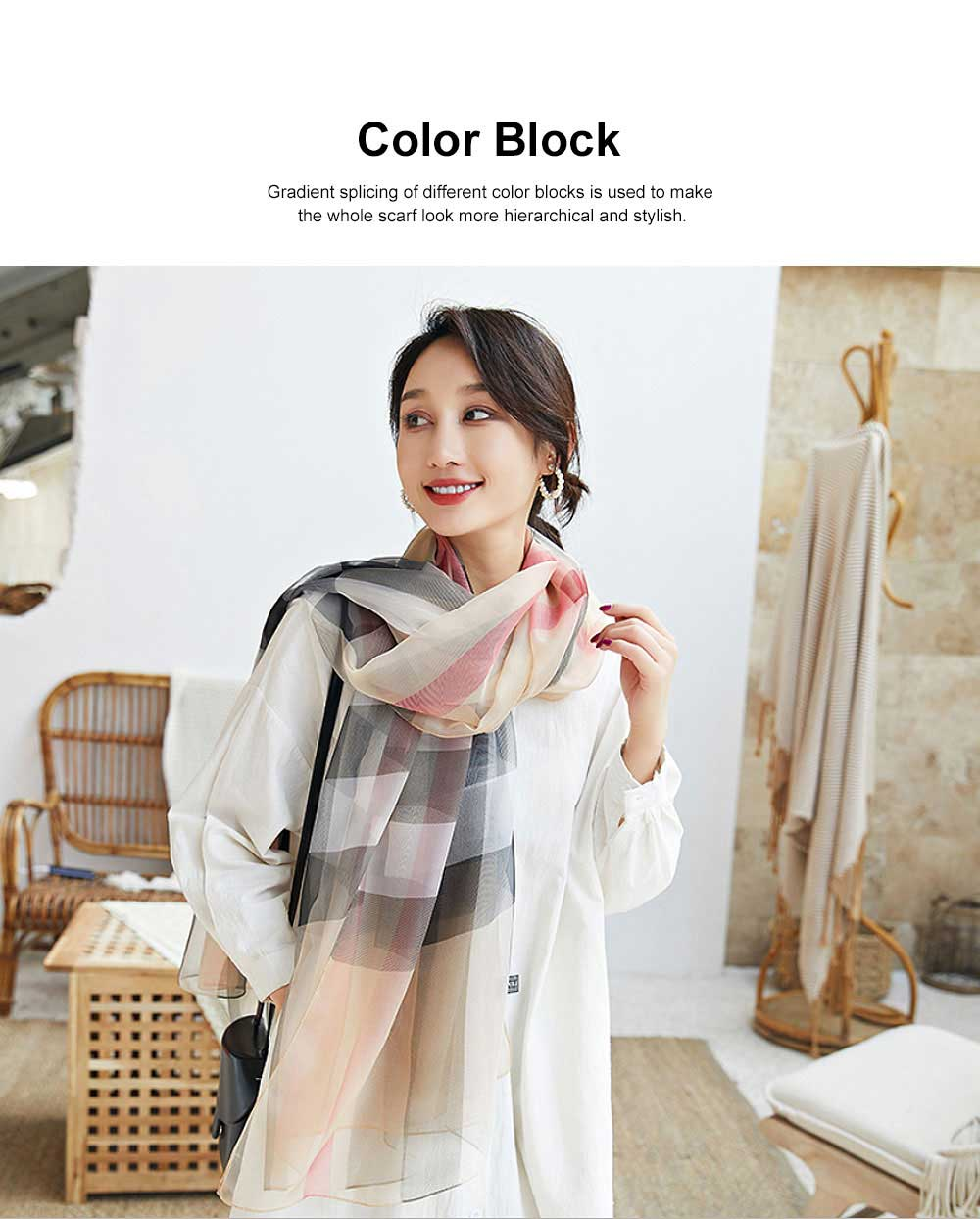 2019 Hot Gradient Grid Pants Scarf, New Sunscreen Scarf Shawl in Spring and Summer for Girl Lady 4