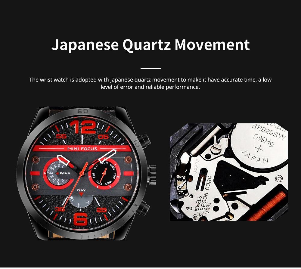 Mechanical Style Men's Quartz Watch Waterproof Businessman Watch Fashion Accessory 3 Dial Plates 6 Pointers Wrist Watch 5