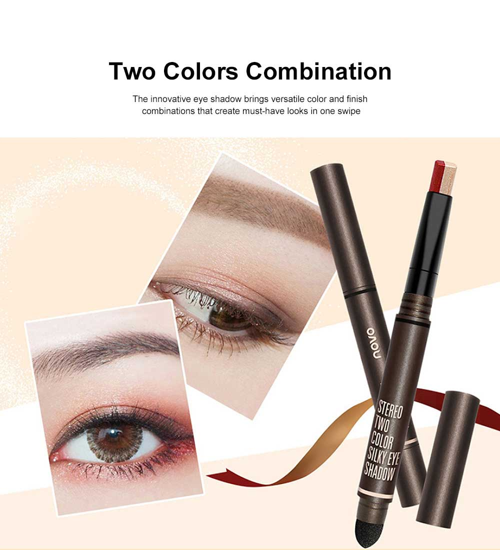 Portable Dual Color Eye shadow Stick Waterproof Long-Lasting Eye Makeup Stick Pearl Effect Cosmetic for Beginner 1