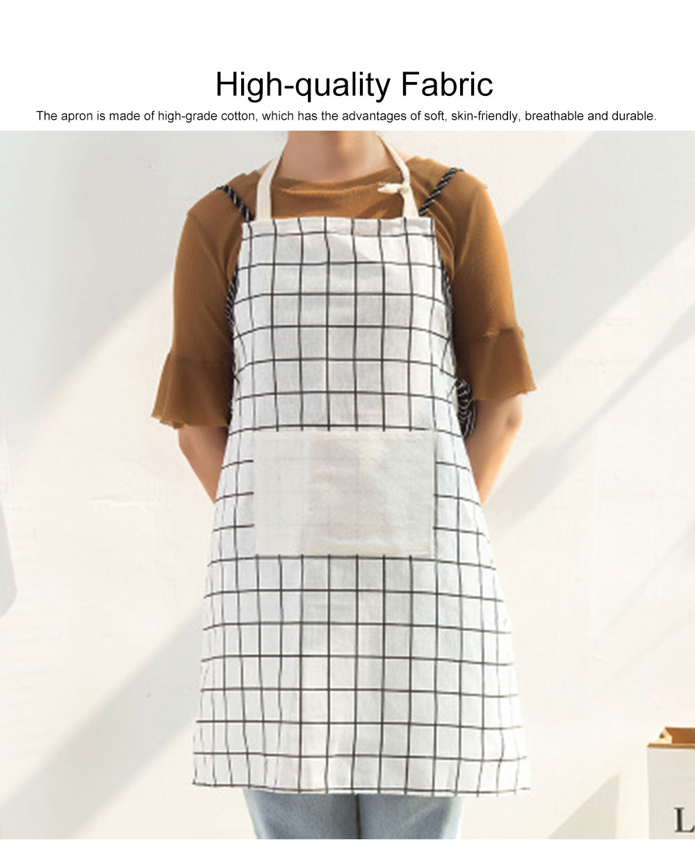 Minimalist Fashion Plaid Cooking Kitchen Cotton Apron Waterproof Dust-proof Adjustable Adult Waist Cloth with Pocket Aprons 3