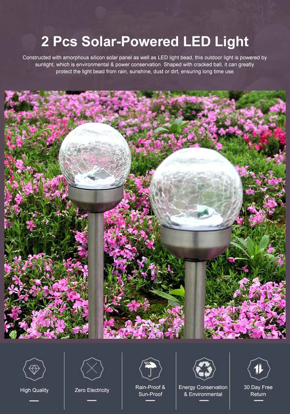 2pcs Solar-Powered Garden LED Light Environmental & Power-Saving Glass Crystal Ball Light Innovative Ambient Light Decoration for Outdoor Yard Lawn Ground 0