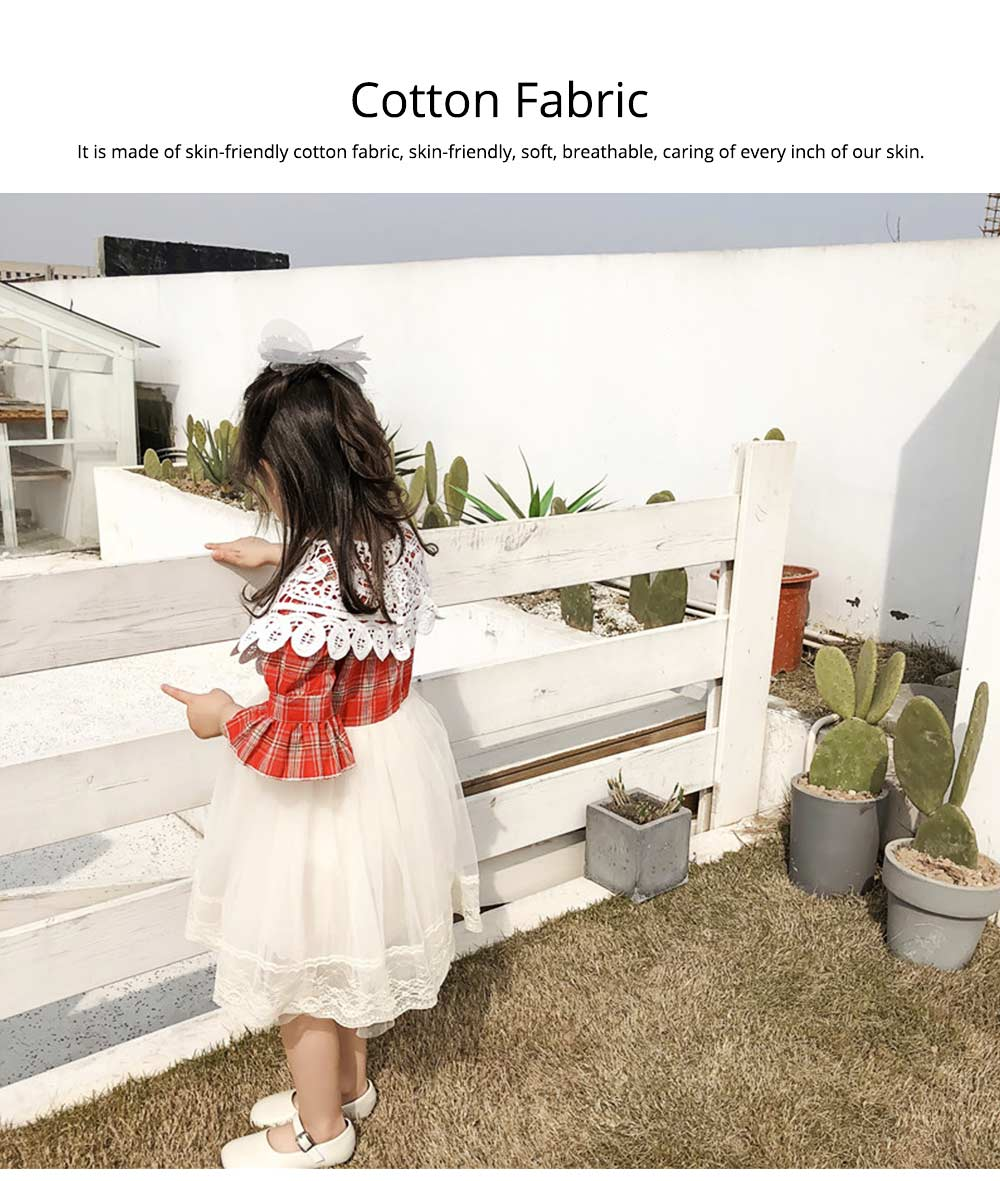 Plaid shirt Bubble Dress for Girls Double-side Shoulder Lace High-quality Cotton Fabric Lining Sweet Style One-piece 5