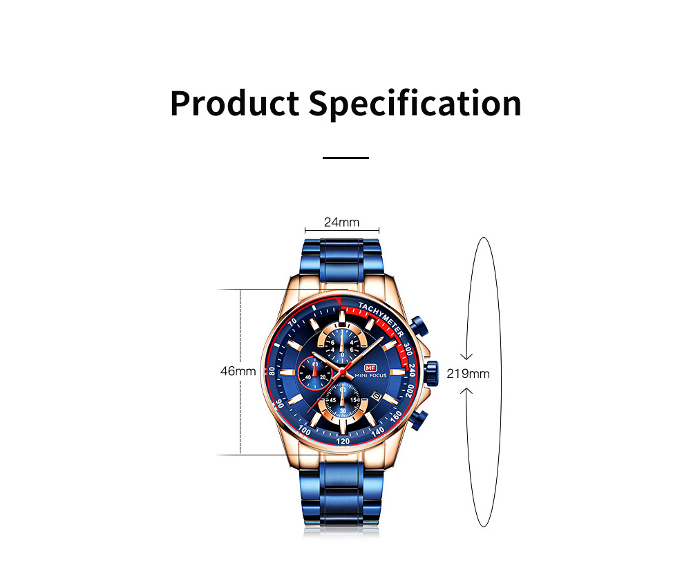 Speed Gauge Watch with Three Index Dial Calendar Men's Waterproof Luminous Quartz Watch with Stain Steel Watch Band 6