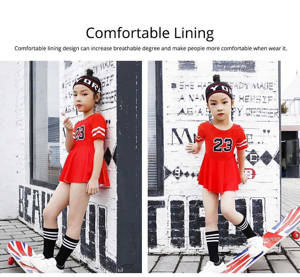 One-piece Swimming Suit for Girls Round Collar Comfortable Lining Multi-size Design Polyvinyl Chloride Fiber Bathing Suit 3