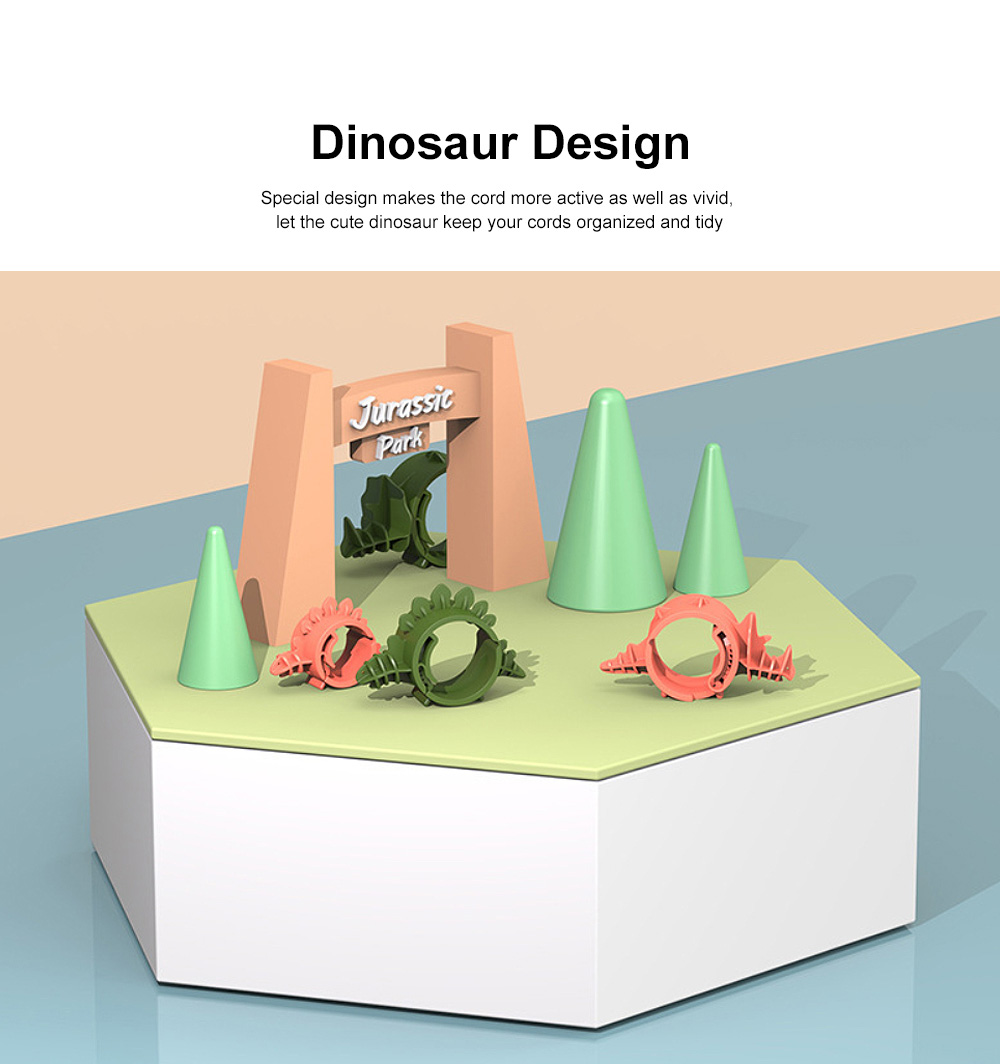 4PCS Cute Dinosaur Cord Organizer Adjustable PA Cable Wire Storage for Home, Office, Travel 1