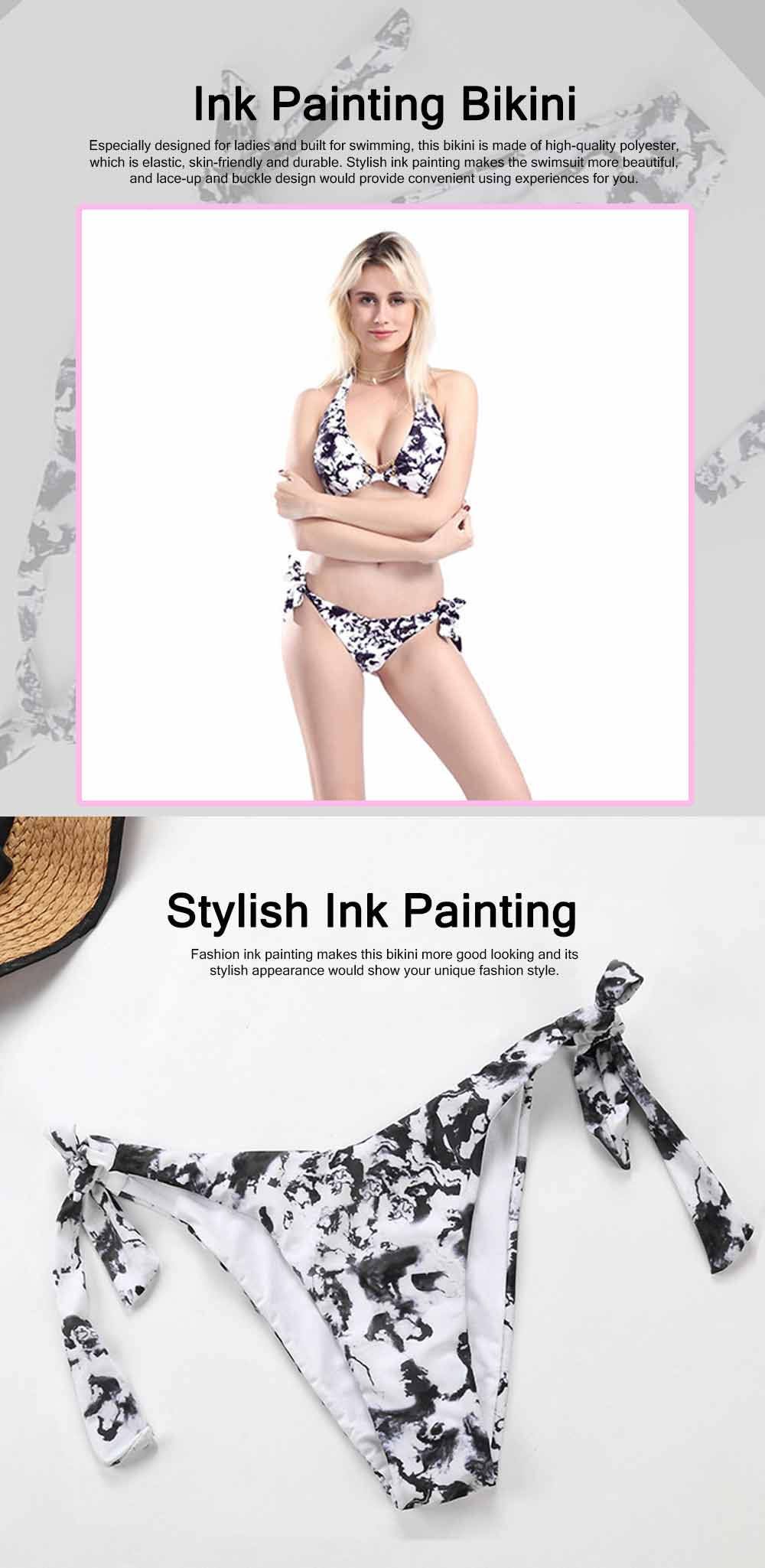Sexy Stylish Ladies Ink Painting Bikini Swimsuit Skin-friendly Elastic Female Push-up Padded Swimwear Set 0