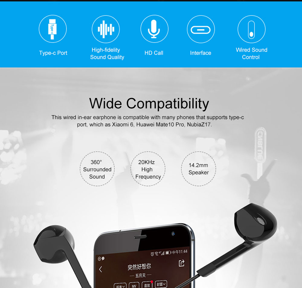 Quality Type-c Huawei P20 pro Xiaomi 8 se Wired In-ear Earphone, Delicate Mega Bass Denoise Wired Ear phone for Android Smart Phone 1