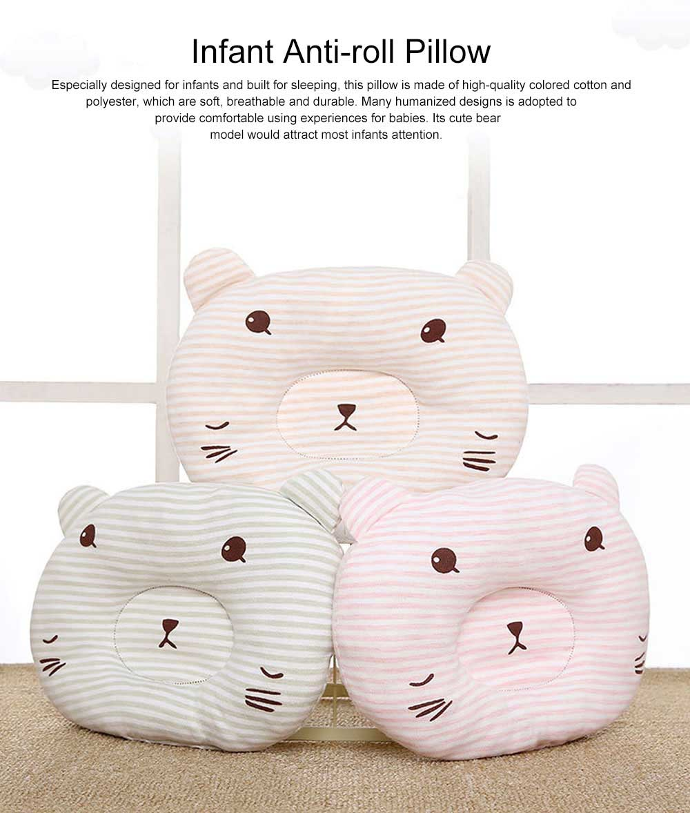 Cute Bear Model Anti-Roll Newborn Infant Pillow Skin-friendly Breathable Colored Cotton Prevent Flat Head Baby Sleep Cushion 0