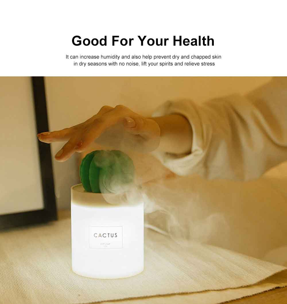 280ML Mini Cactus Air Humidifier USB Chargeable Cool Mist Humidifier, Ultra-Quiet Air Diffuser for Bedroom Home Office Yoga Car Travel 5