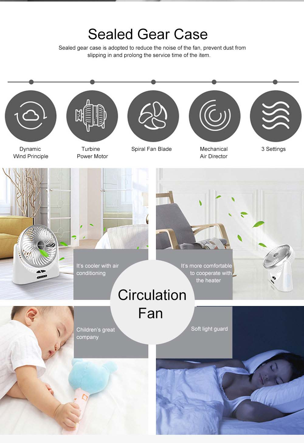 Portable Mini Chargeable Silence Table Cooling Fan Household Office Dormitory Rotation Circulation Fan 8