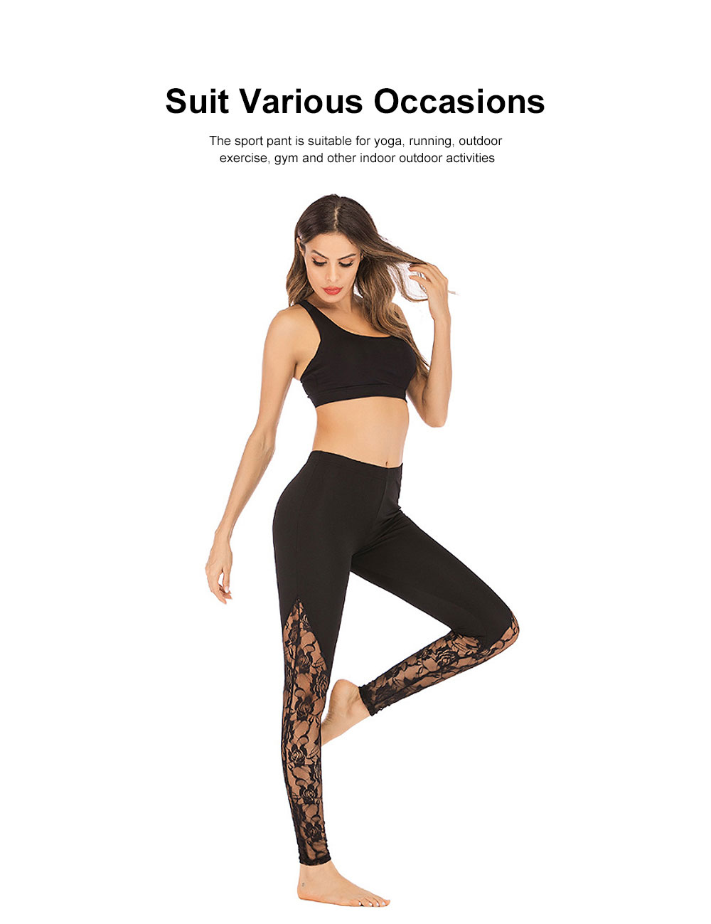 Trendy Lace Yoga Pant Fast-Dry Soft Polyester Trousers Elastic Waistband Breathable Sport Wear Pants for Women Lady 4 Colors 3