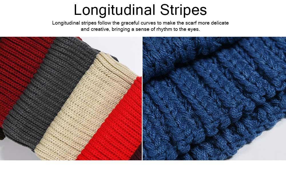 New Wool Scarf Soft Tippet Longitudinal Knitting for Women Men Keep Warm Skin-friendly Muffler Winter 4