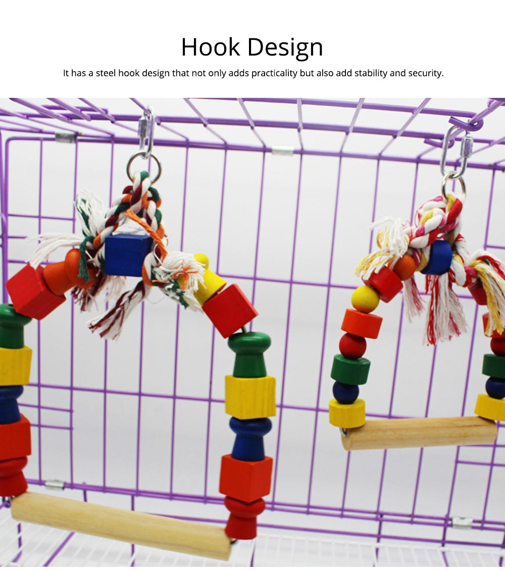 Solid Wood Climb Frame for Parrot Colorful Strap Round Pet Supplies, Safe Non-toxic Iron Ring Real Wood Pet Toys 2