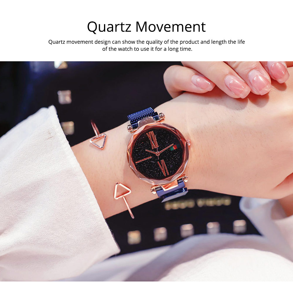 Starry Quartz Watch for Women Glass Dial Magnetic Design Quartz Movement Spiral Decoration Sturdy and Durable Watch 3
