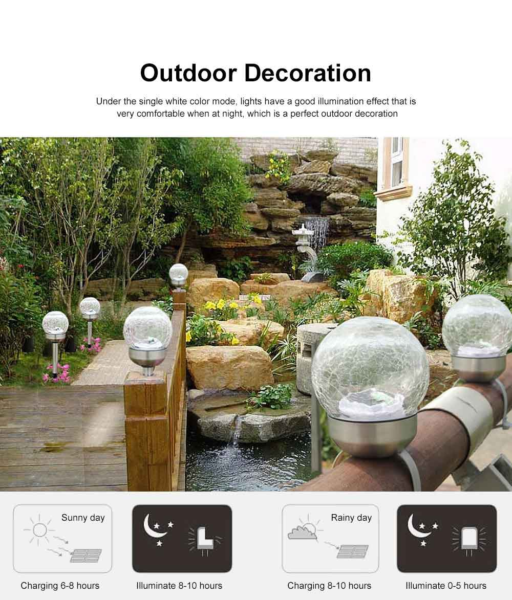 2pcs Solar-Powered Garden LED Light Environmental & Power-Saving Glass Crystal Ball Light Innovative Ambient Light Decoration for Outdoor Yard Lawn Ground 2