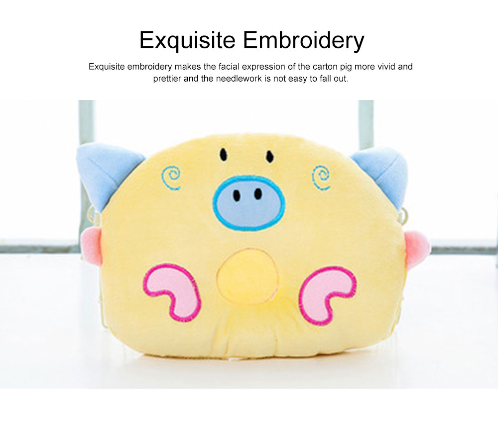 Cute Carton Pig Model Embroidery Anti-Roll Newborn Baby Pillow Soft Breathable Fluff Infant Prevent Flat Head Pillow 4