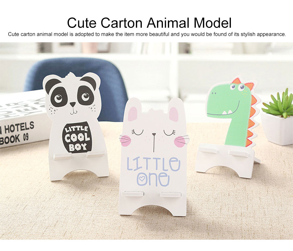 Creative Cute Cartoon Animal Model Mobile Phone Supporter, Touch Wood-Plastic Board Tablet Computer Holder 2