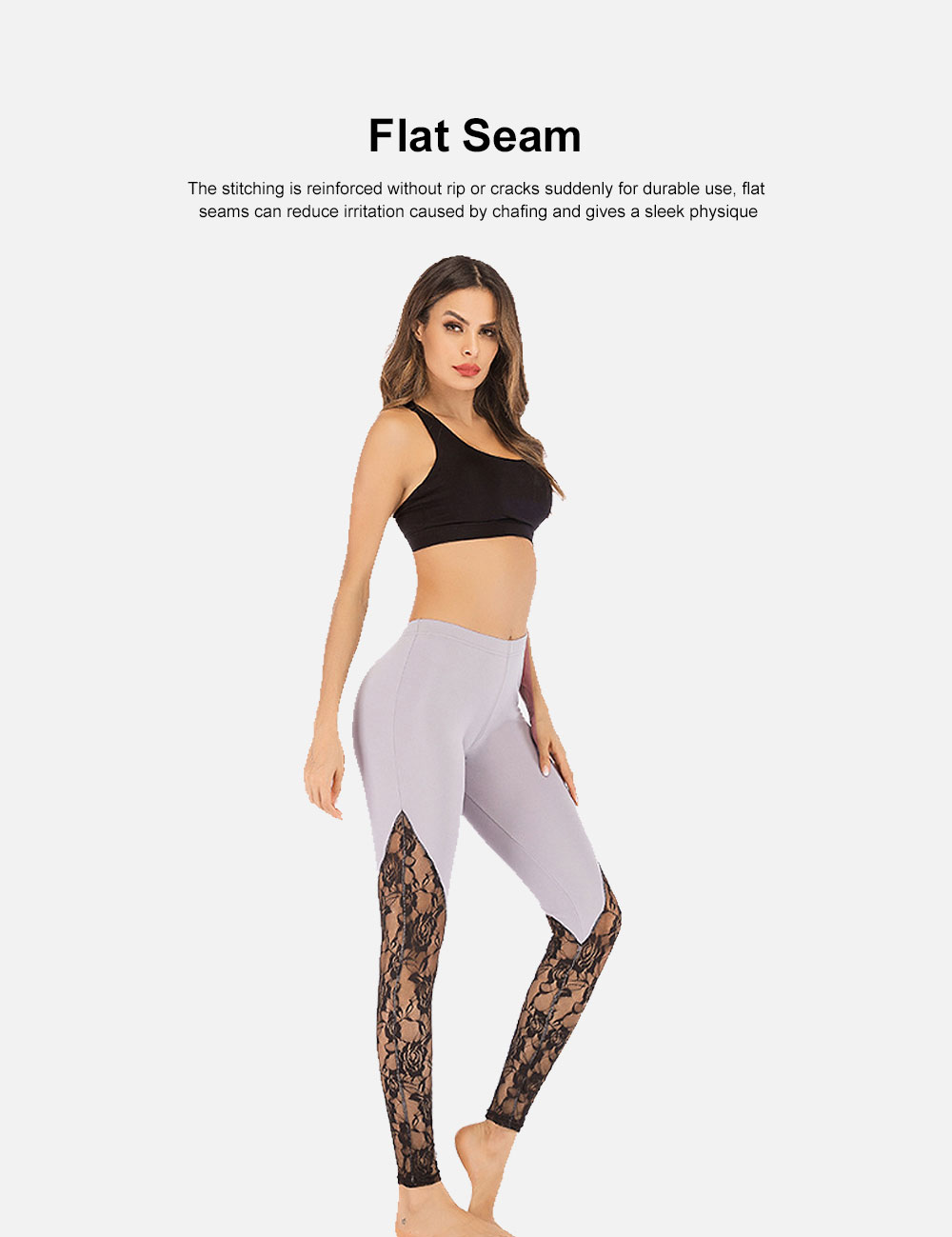 Trendy Lace Yoga Pant Fast-Dry Soft Polyester Trousers Elastic Waistband Breathable Sport Wear Pants for Women Lady 4 Colors 4