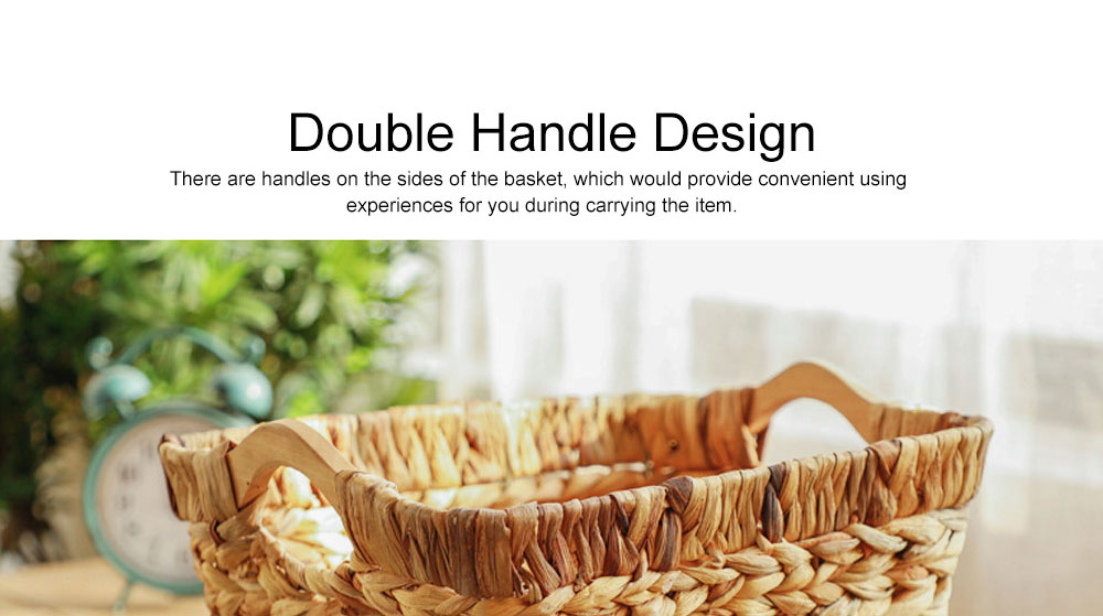 Creative Minimalist Garden Straw Weaving Flower Basket, Delicate Rattan Weaving Storing Basket Decoration with Double Handle 5