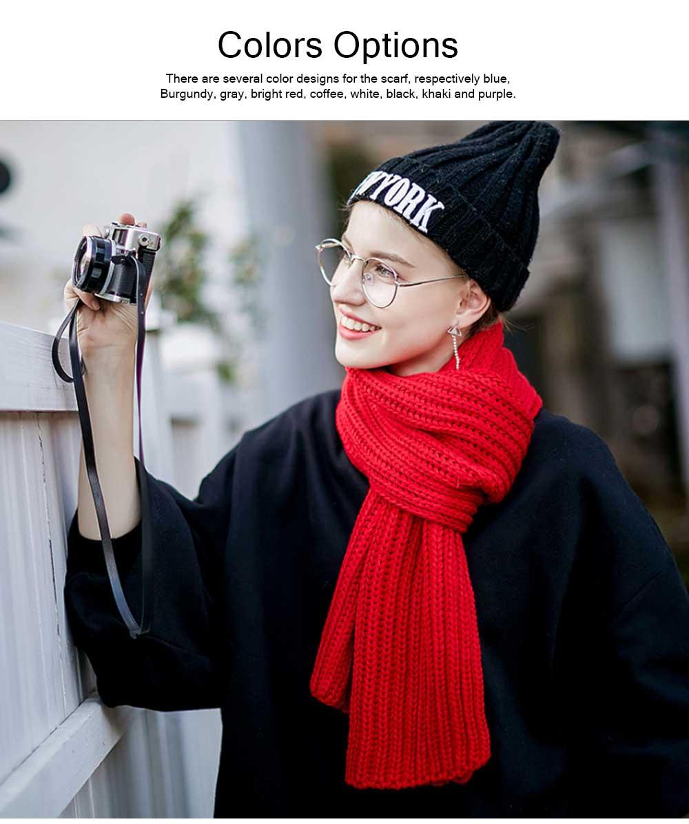 New Wool Scarf Soft Tippet Longitudinal Knitting for Women Men Keep Warm Skin-friendly Muffler Winter 5