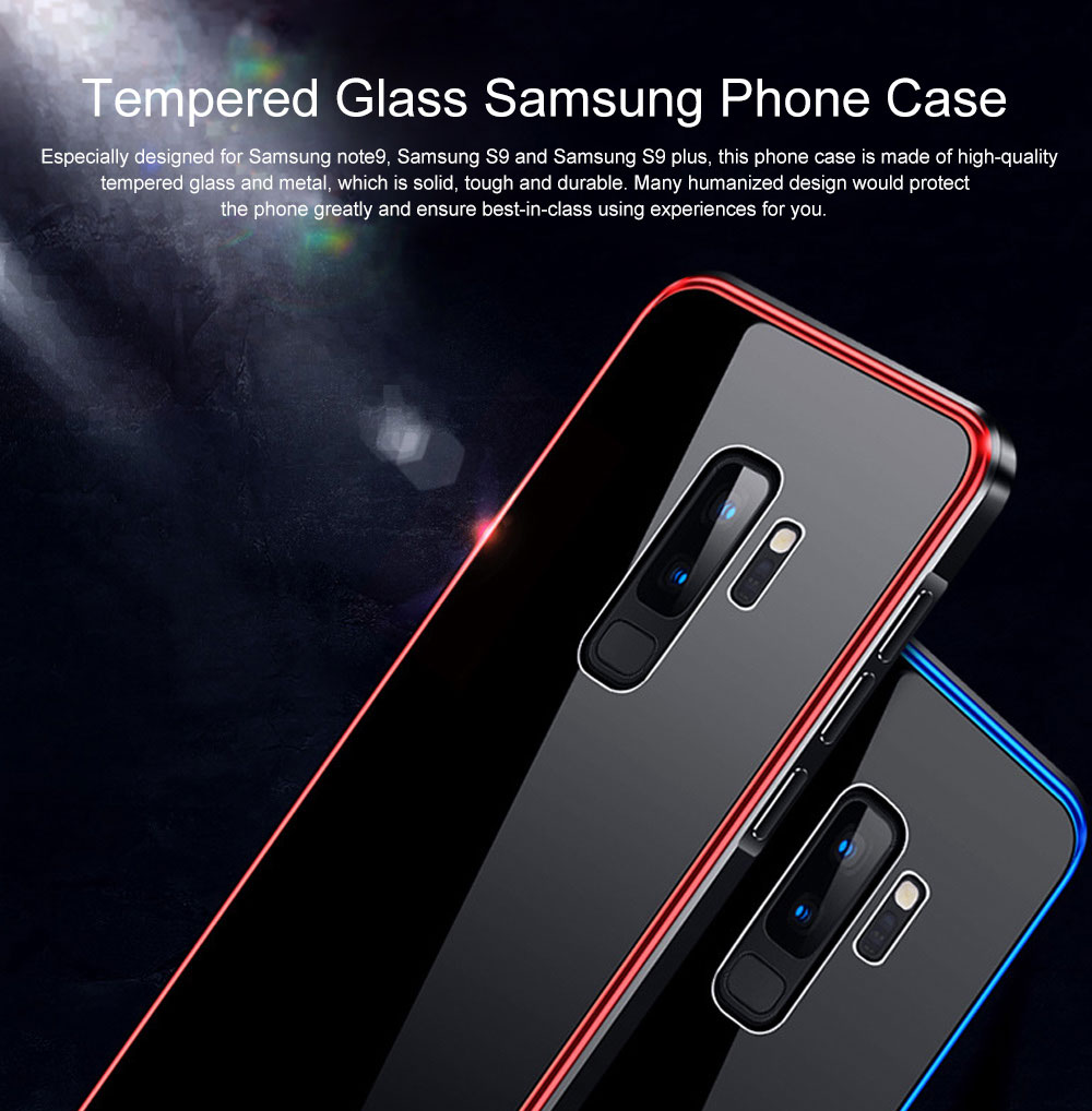 Minimalist Solid Metal Border Tempered Glass Samsung Phone Case, Breaking-proof Phone Protective Cover for Samsung Galaxy Note 9 S9 Plus 0