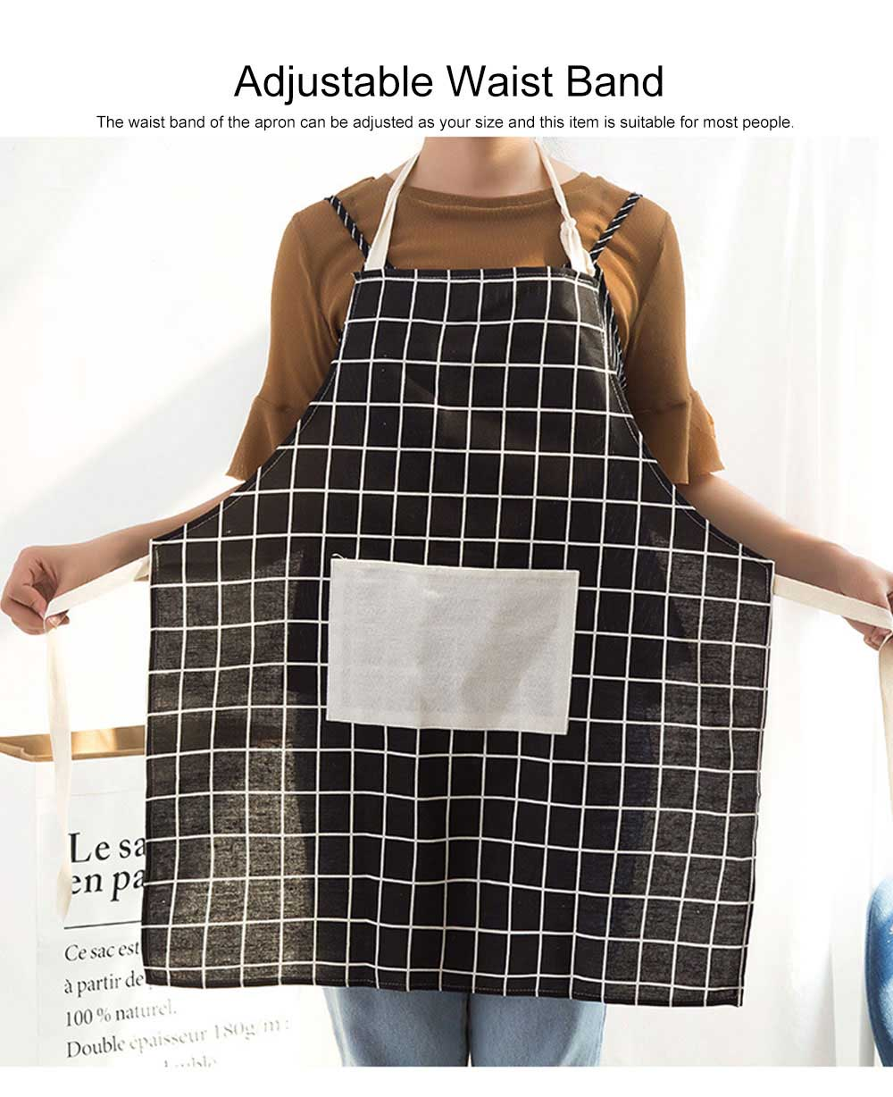 Minimalist Fashion Plaid Cooking Kitchen Cotton Apron Waterproof Dust-proof Adjustable Adult Waist Cloth with Pocket Aprons 1