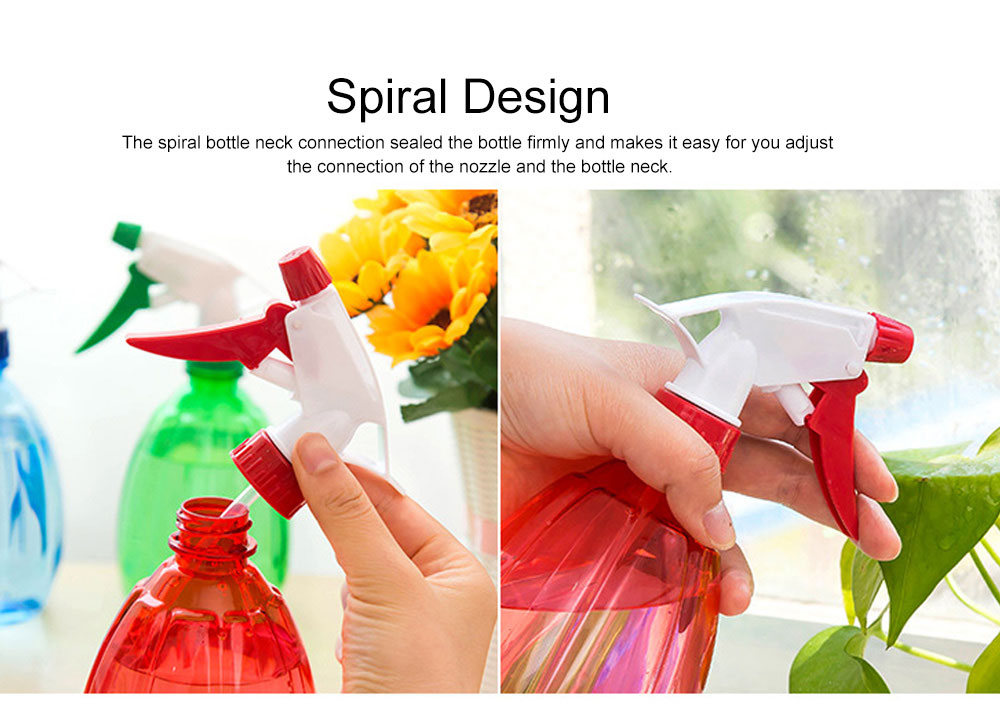 Minimalist Transparent Candy Color Hand Pressure Sprayer, Solid PP PVC Handheld Trigger Pump Watering Bottle 4