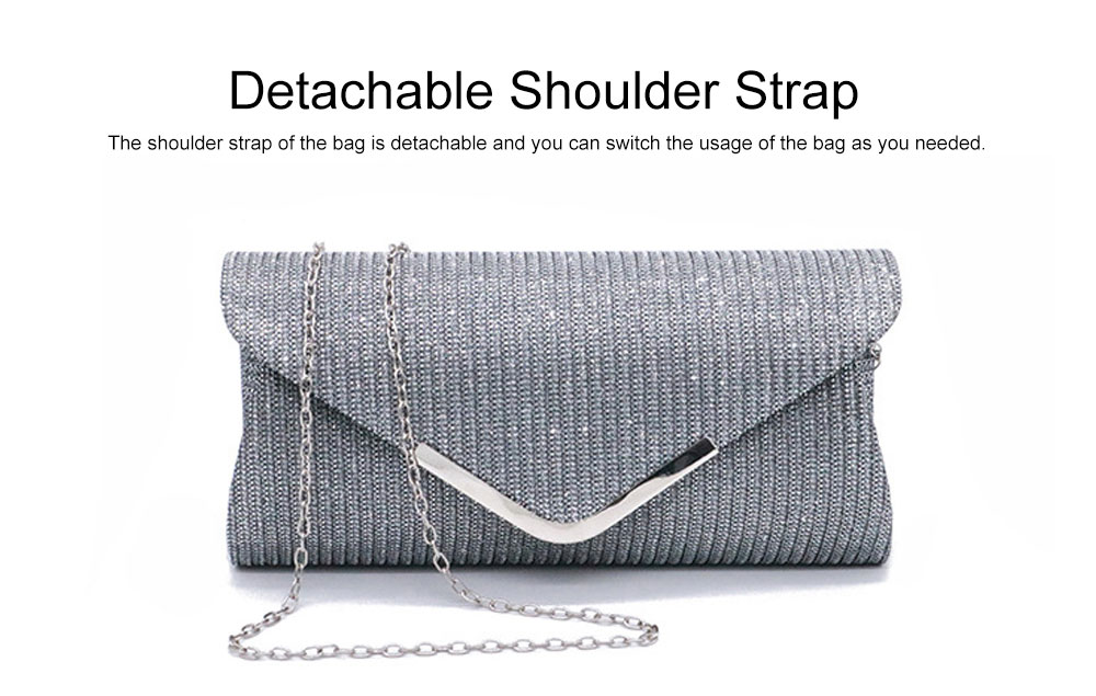 Fancy Elegance Flash Ladies Shoulder Evening Bag Soft Polyester Socialite Hand Bag Cosmetic for Women 2