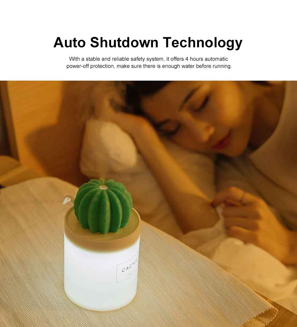 280ML Mini Cactus Air Humidifier USB Chargeable Cool Mist Humidifier, Ultra-Quiet Air Diffuser for Bedroom Home Office Yoga Car Travel 3
